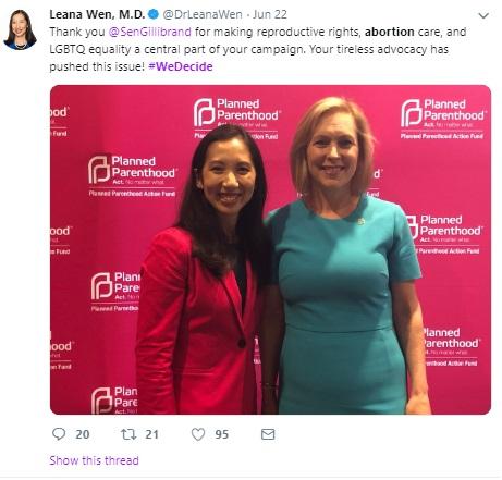 K Gillibrand June 2019 We Decide Forum w Planned Parenthood (Image: Twitter)