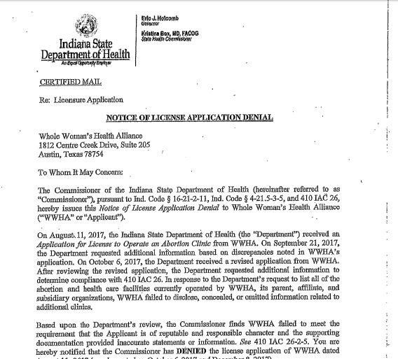 Image: Whole Women's Health Indiana DOH health letter denies license