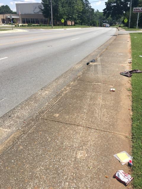 skid marks on sidewalk