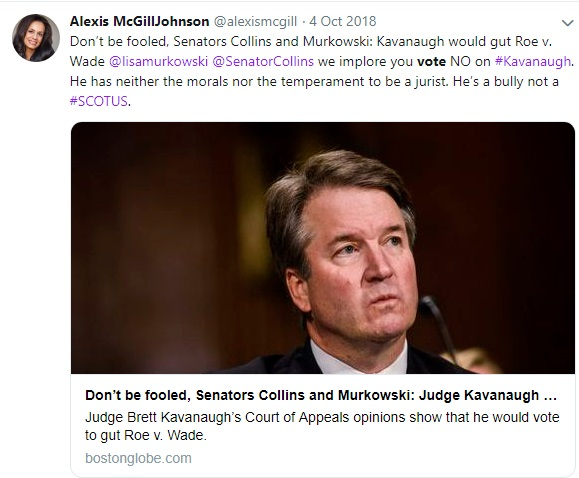Image: Alexis McGill Board Acting Planned Parenthood president on Kavanaugh (Image: Twitter)