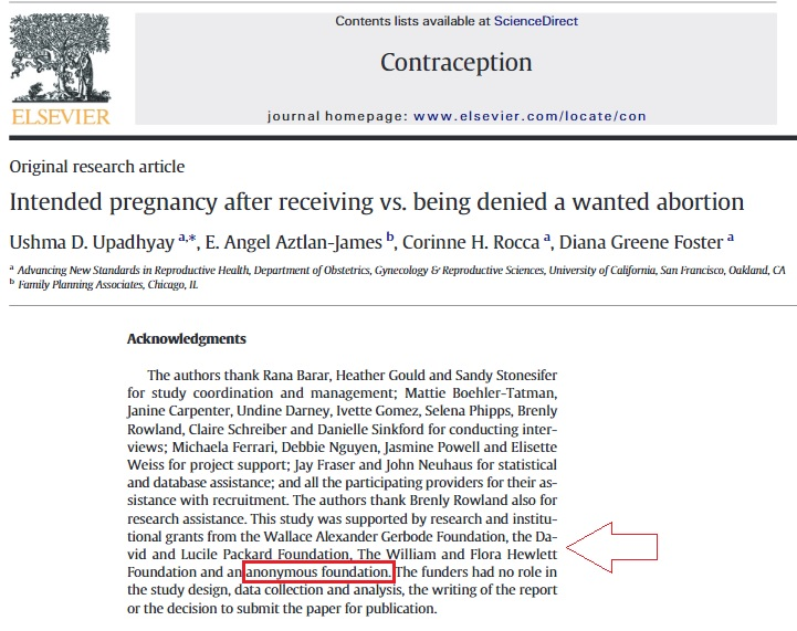 Anonymous funding Journal Contraception Gerbode Packard Hewlett