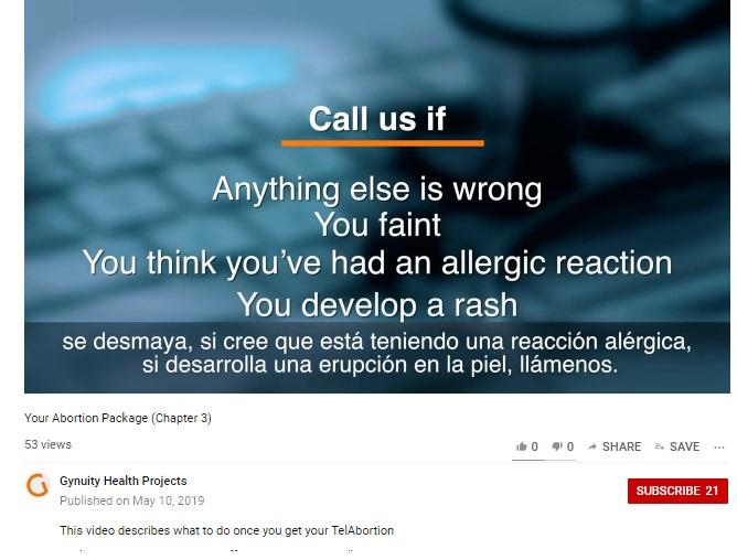 Gynuity vids detail TelAbortion abortion pill risks faint allergic reaction rash