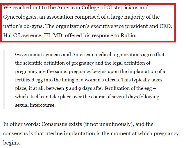 Image: Media Bias WAPO journalist Philip Bump false conclusion on when life begins uses pro-abortion ACOG