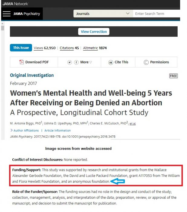 Image: Abortion study published by JAMA Psychiatry used Packard and anonymous funding source