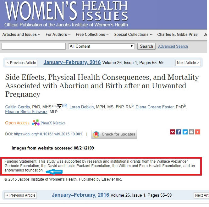 Image: Abortion study published by Women's Health Issues used anonymous funding and Packard