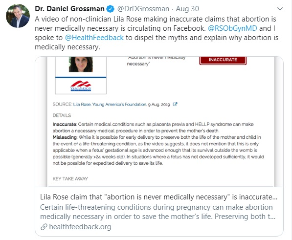 Image: Abortionist Daniel Grossman authors fact check against pro-life group (Image: Twitter)