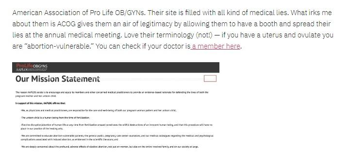 Image: Jen Gunter calls AAPLOG website medical lies