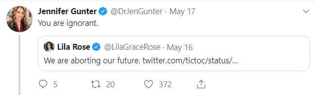 Image: Jen Gunter calls Lila Rose ignorant (Image: Twitter)