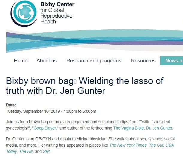 Image: Jen Gunter to speak at the Bixby Center