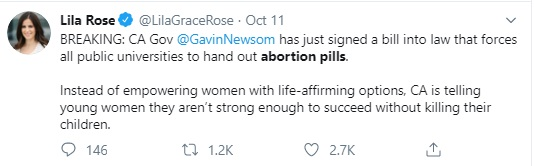 zImage: Lila Rose on law mandating abortion pills on California campus (Image: Twitter)