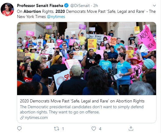 "Image: 2020 Democrat Presidential Candidates move past abortion ""safe, legal, and rare."" (Image: Twitter)"