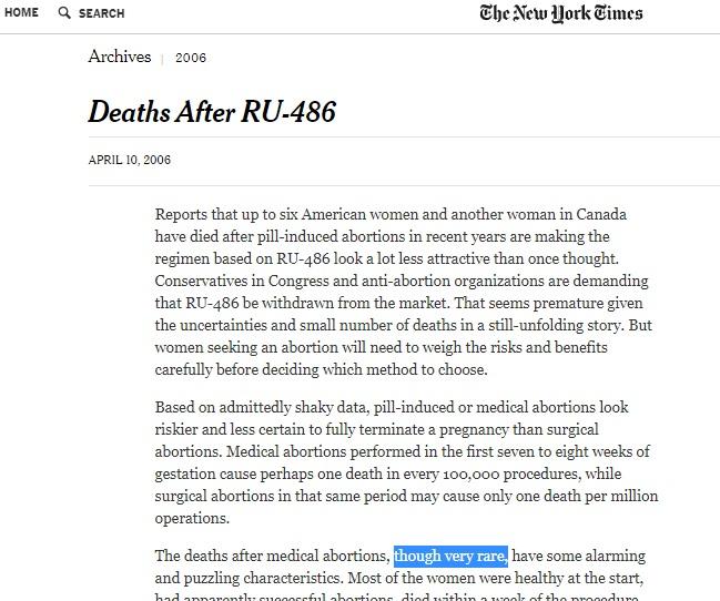 Media call RU486 abortion pill deaths rare