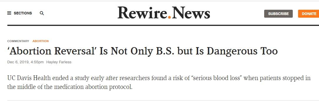 Rewire misrepresents Creinin study on abortion pill reversal
