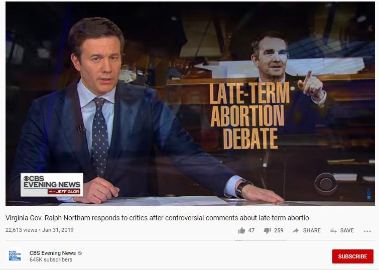 Image: CBS News vid Headline on late-term abortion