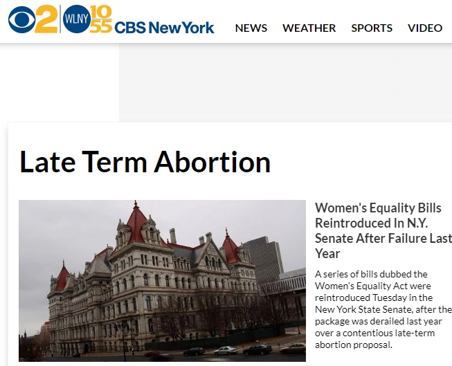 Image: CBS New York Headline on late term abortion