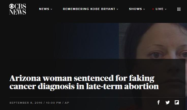Image: CBS News Headline on late term-abortion Sept 2016