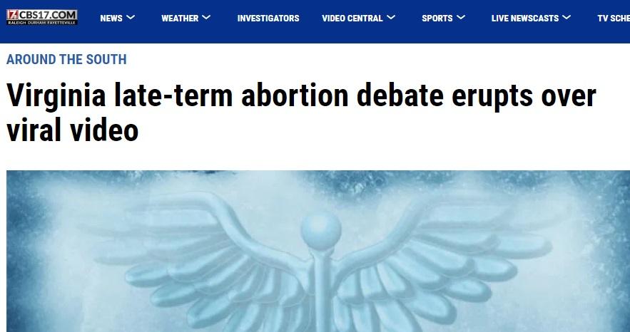 Image: CBS VA Headline on late-term abortion