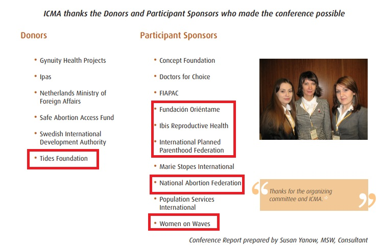 Tides Foundation funds 2010 abortion pill conference with Ibis Planned Parenthood and NAF