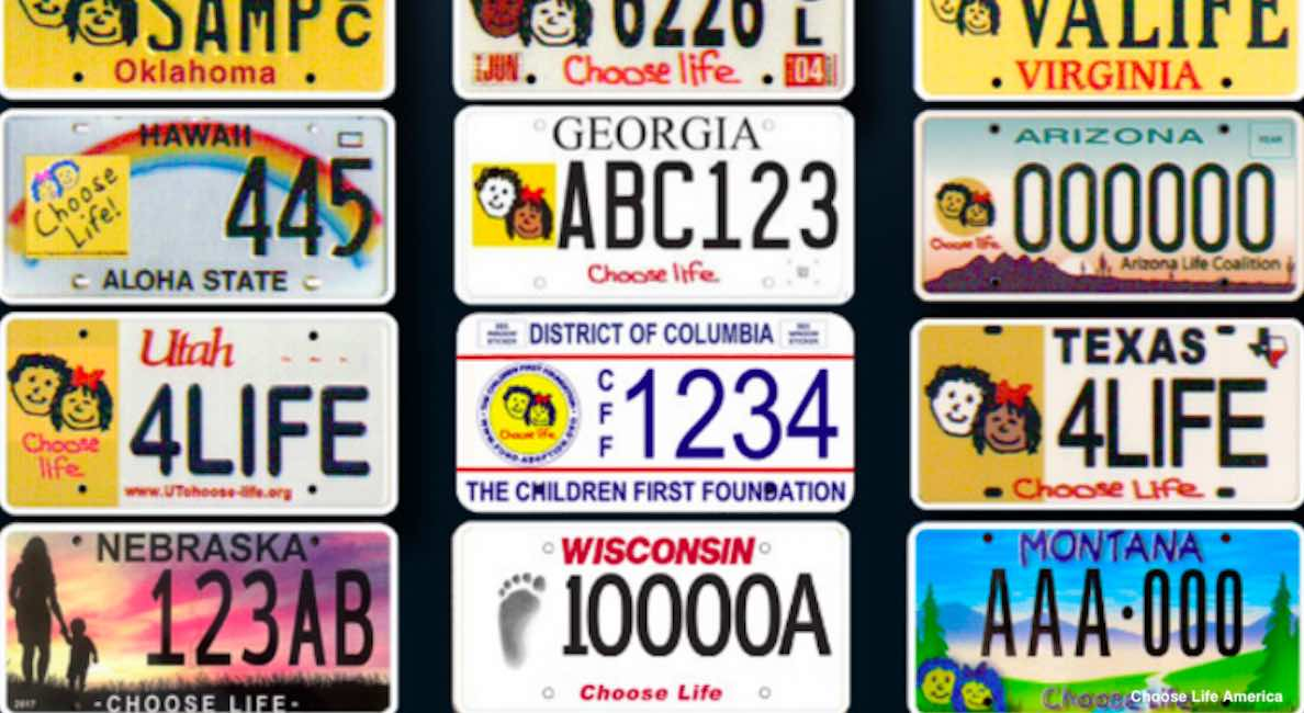 choose life license plates