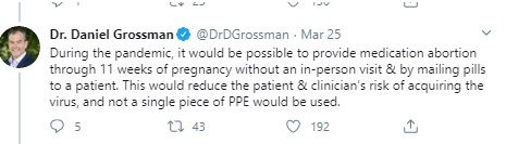 Abortionist Danial Grossman tweets expanding abortion pill Image Twitter