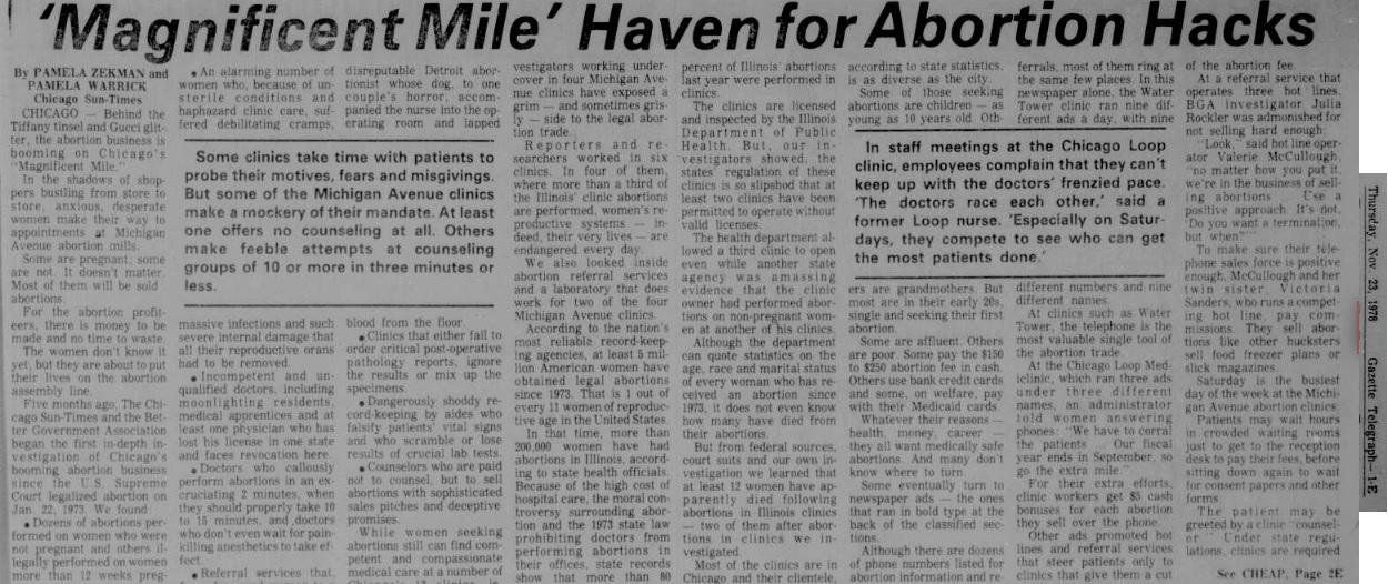Pamela Zekman and Pamela Warrick on Chicago abortion clinics Nov 23 1978 PT 1
