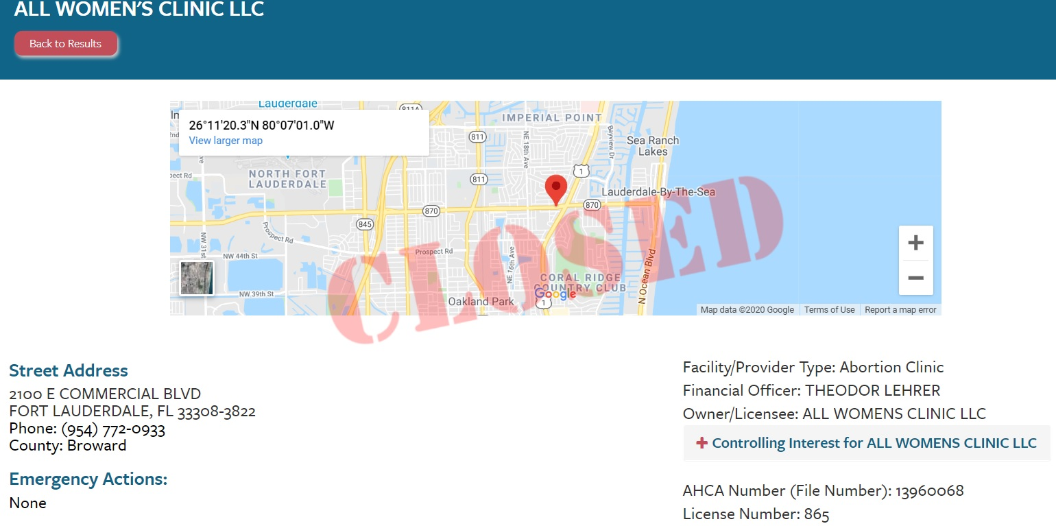 All Womens Clinic in Fort Lauderdale closed according to state licensing agency ACHA