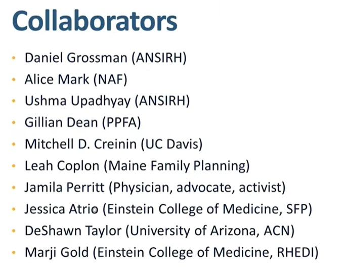 Gynuity no test medication abortion protocol collaborators includes Daniel Grossman