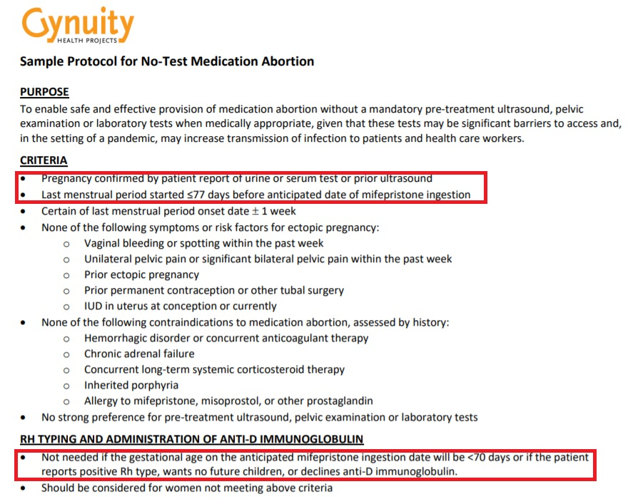 Image; Gynuity sample protocol for no test medication abortion