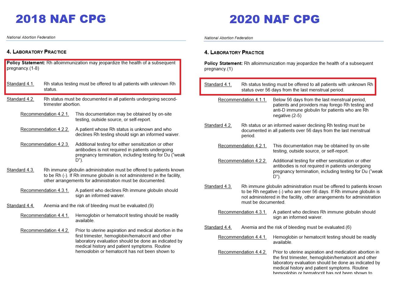 NAF RH Testing on abortion patients 2018 v 2020 CPG