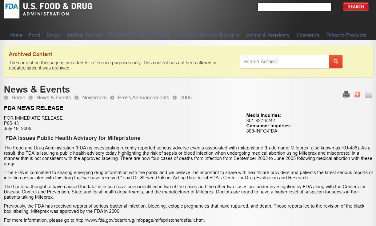 Image: 2005 FDA Public Health Advisory on several abortion pill deaths