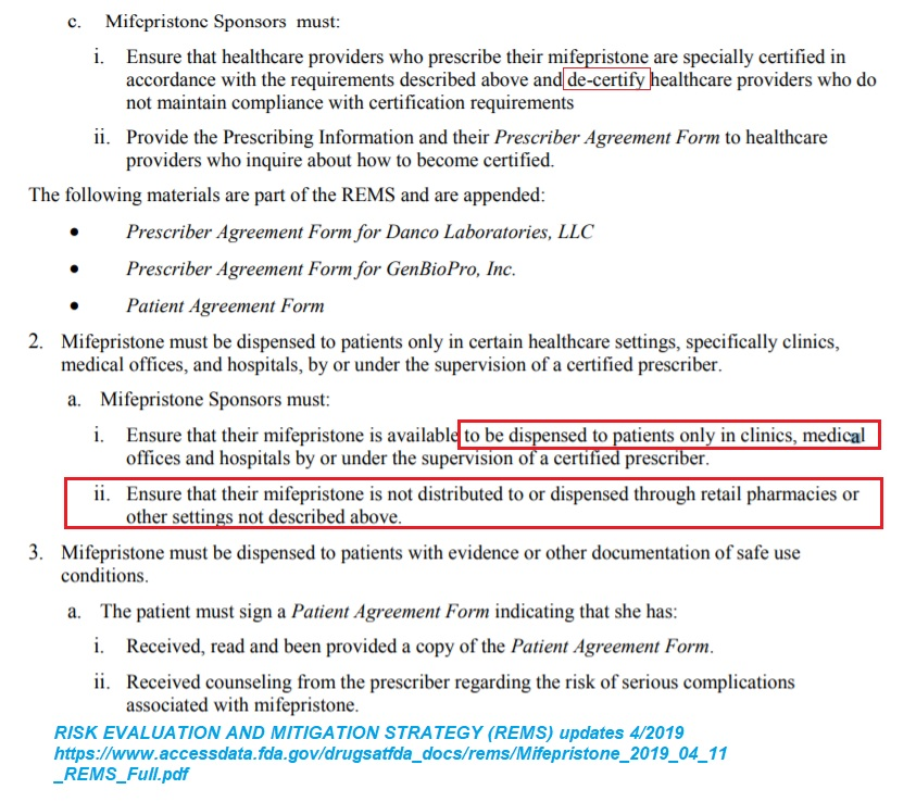 FDA REMS for abortion pill Mifepristone excerpt