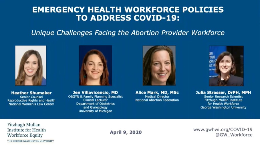 Image: Fitzhugh Mullan Institute abortion webinar April 2020 abortion pill pushing factories