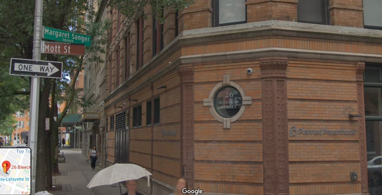 Margaret Sanger Center New York 26 Bleecker Street Google Street view 2019