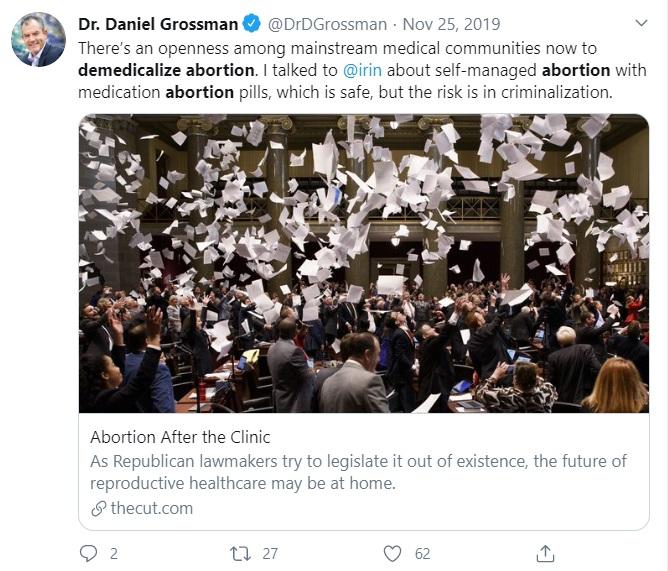 Image: De-medicalize abortion (Image Dr. Daniel Grossman Tweet)