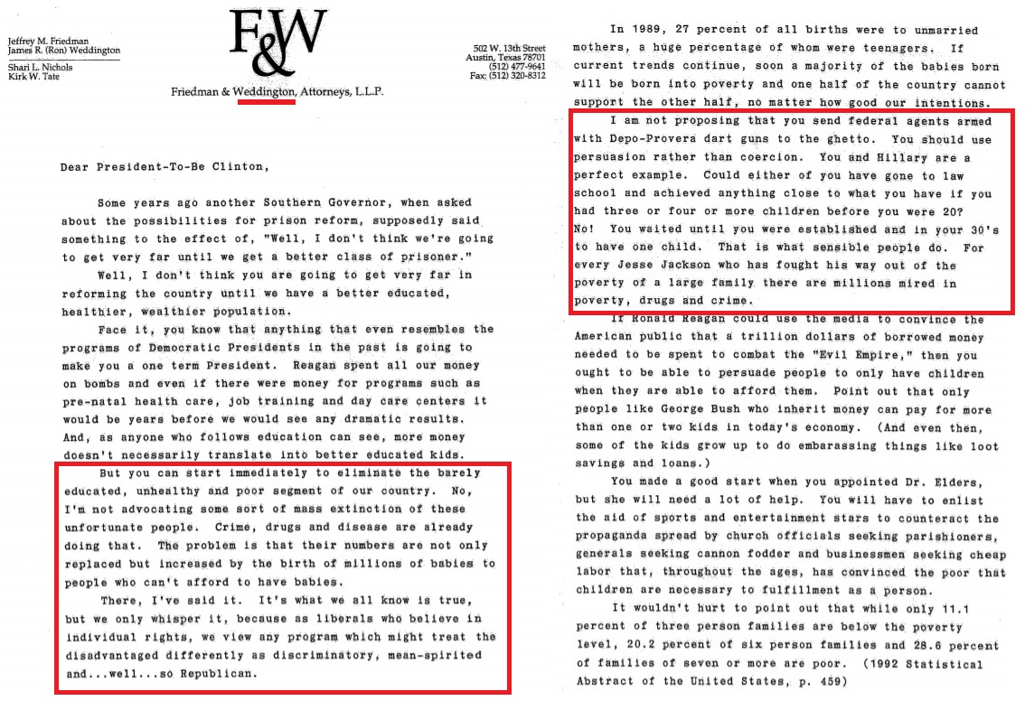 Image: Ron Weddington letter about RU486 abortion pill to President Clinton page 1 to 2