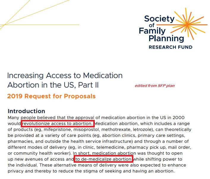 SFP De-medicalize abortion via abortion pill
