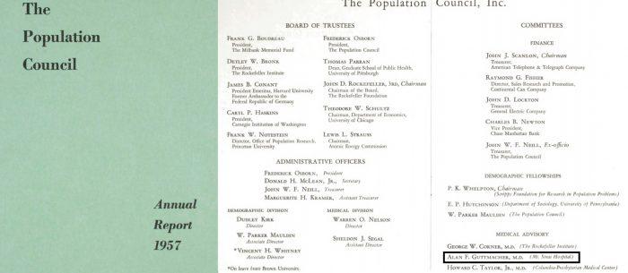 Image: Population Council Board 1957 shows Alan Guttmacher on Medical Advisory Board