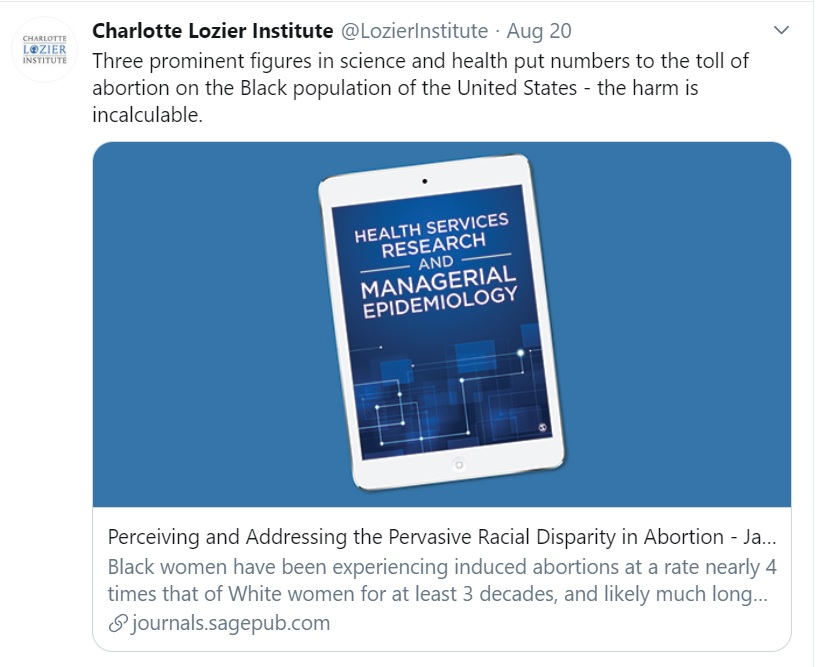 Image: Charlotte Lozier toll of abortion on Black population Image Twitter