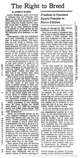 Garrett Hardin Right to Breed New York Times 1971