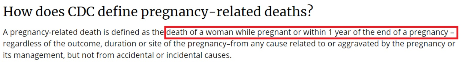 How does CDC defin pregnancy related death