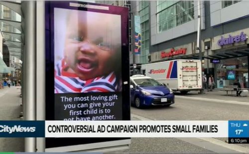 Vancouver street ads: Having only one child is 'loving' toward children