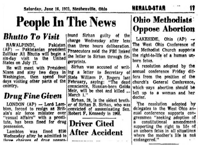 1973 Ohio Methodists oppose abortion
