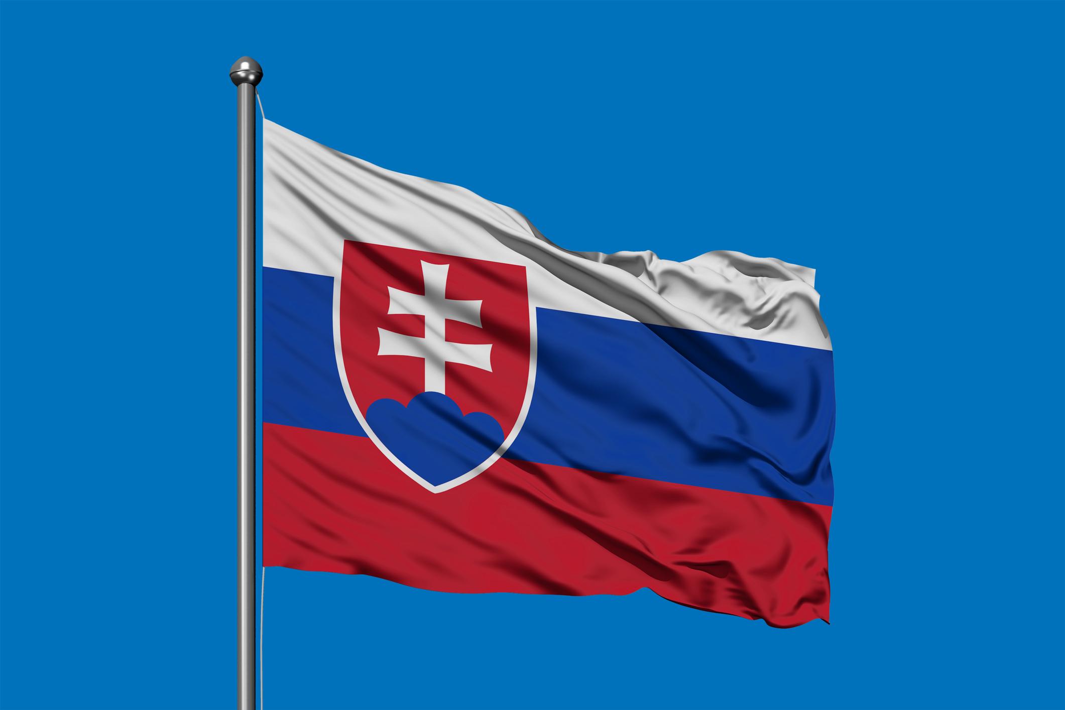 Flag of Slovakia waving in the wind against deep blue sky. Slovak flag.