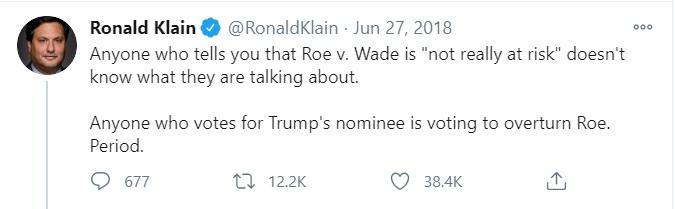 Biden Chief of Staff Ron Klain Roe is at riskImage Twitter