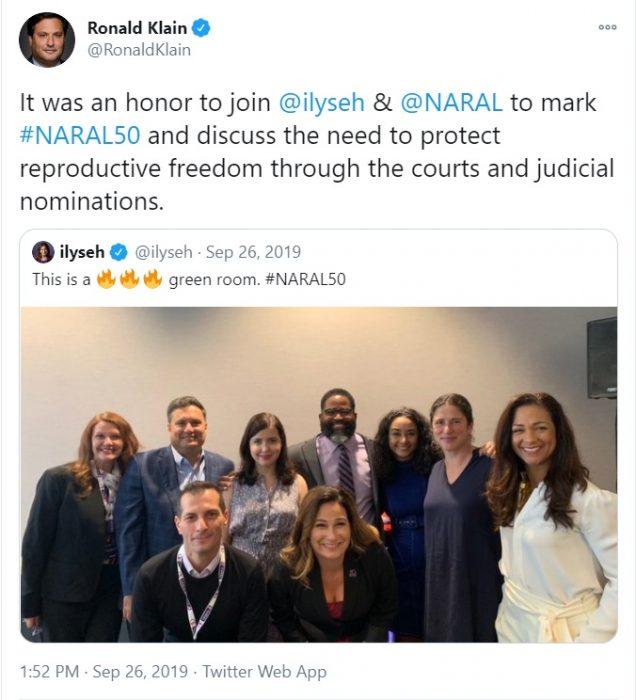 Image: Biden Chief of Staff Ron Klain celebrates abortion with NARAL (Image: Twitter)