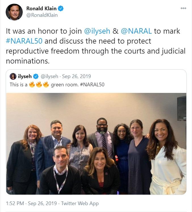 Biden Chief of Staff Ron Klein celebrates abortion with NARAL Image Twitter