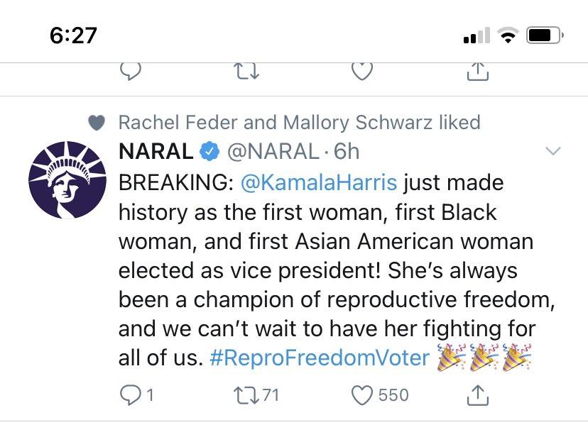 NARAL congratulates Biden Harris Tweet