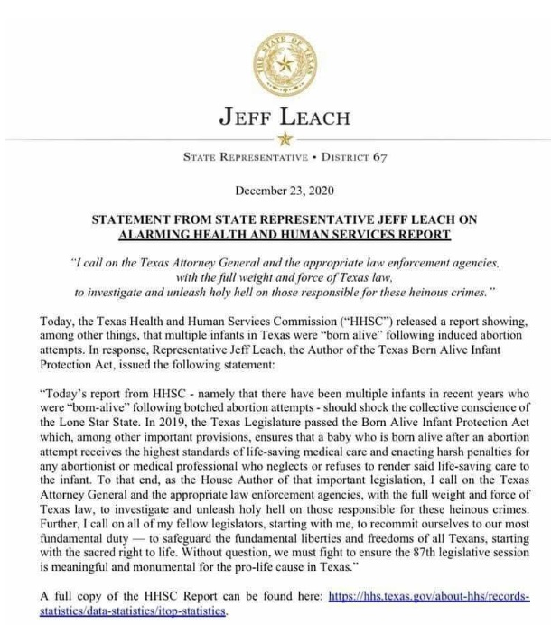 Tx Rep Jeff Leach on Babies were born alive after abortion in Texas in 2019