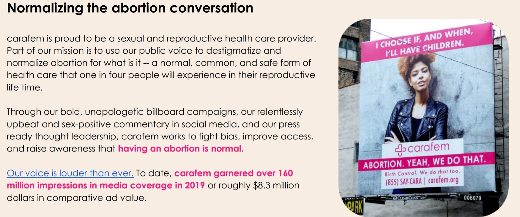 Carafem wants to normalize abortion Image 2020 Carafem Annual Report