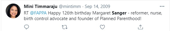 Image: Mini Timmaraju Biden OPM praises Margaret Sanger racist founder of Planned Parenthood (Image: Twitter)